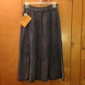 Dresses & Skirts - Genuine Leather Suede Patchwork Skirt Sz S Vintage